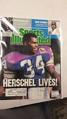 Sports Illustrated Cover Signed By Vikings Cowboys Herschel Walker Jsa