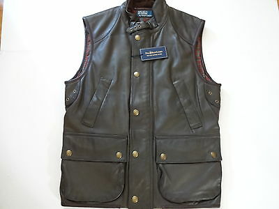 New Ralph Lauren Polo Forest Green fine Lambskin Leather  Hunting Vest Slim  S