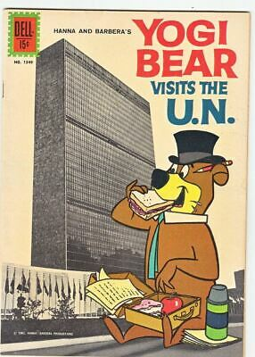 1962 Dell 4 Color #1349 – Yogi Bear Visits The U.N. – Photo Cover – Rare to F...