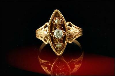 Antique Early Victorian Diamond Seed Pearl 14K Gold Ring