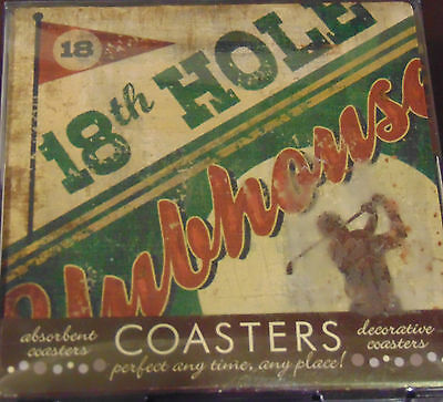 Golf Coasters 18th Hole Clubhouse ceramic with cork base