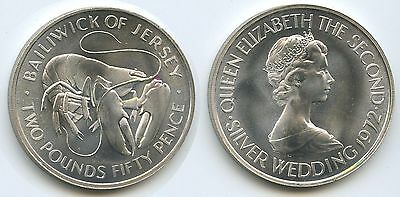G0018 - Jersey 2 Pounds 50 Pence 1972 KM#38 Silber Lobster Krebs RAR