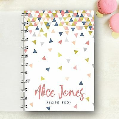 Personalised Recipe notebook Confetti Triangle Lovely Present, Foodie Cooks Gift