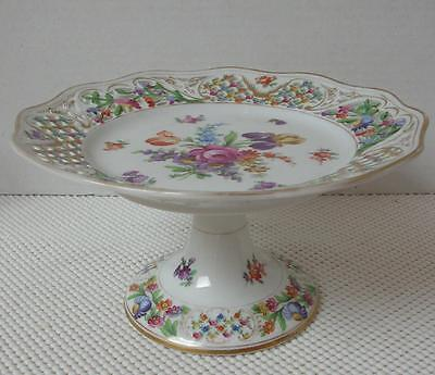 Vintage DRESDEN SCHUMANN RETICULATED Porcelain FOOTED CAKE PLATE Floral Sprays