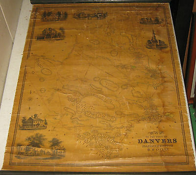 Antique 1852 Henry McIntyre 'MAP of the Town of DANVERS MASSACHUSETTS' - SCARCE!