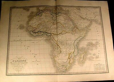 Africa w/ prominent Mountains of the Moon 1831 large antique Lapie color map