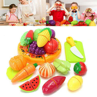 Kids Children Kitchen Role Play Fruit Vegetable Food Cutting Set Educational Toy