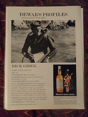 1970 Print Ad Dewar's Dewars Scotch Whiskey ~ Rick Grigg Profile Scuba Diving
