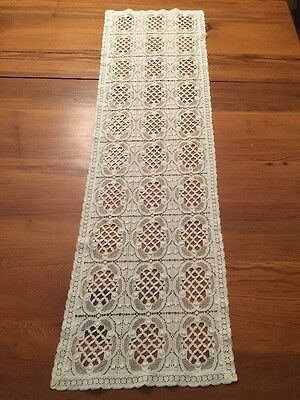 "Vintage Antique Ivory ITALIAN LACE Table Runner 11"" x 39"""