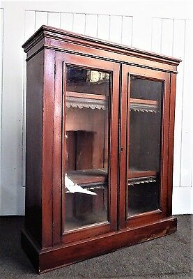 Antique Victorian glazed double glazed bookcase / display cabinet