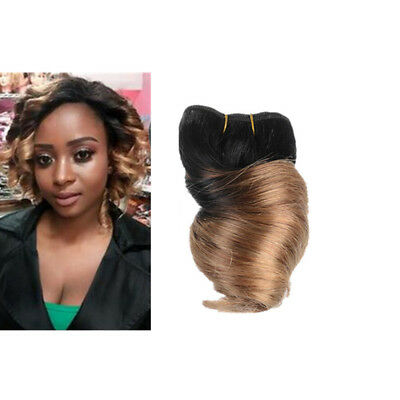 Loose Wave 7A short Real Human Hair Extensions Weave 8'' Ombre black  & blonde