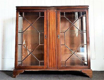 Antique style Regency glazed double cupboard display cabinet