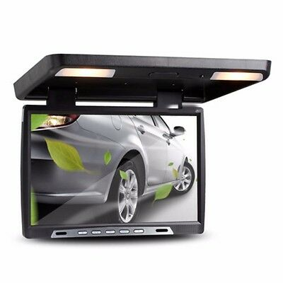 19'' HD Digital Flip Down Car TFT LCD Monitor Roof Mount Player Dome LED Lights