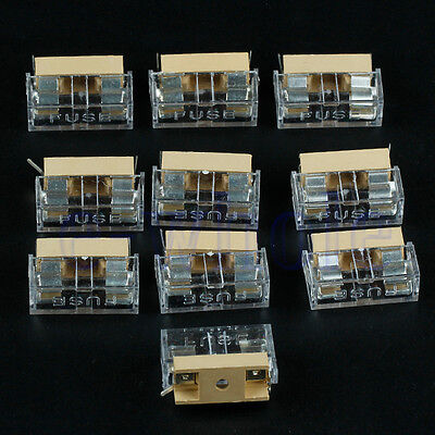 10pcs Panel Mount PCB Fuse Holder Case w Cover 5x20mm WS
