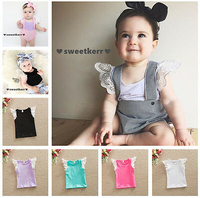 UK FAST Toddler T-shirt Crew Neck Tops Kids Baby Girls Lace Short Sleeve Blouse