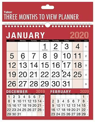 2020 Square Three Month To View Spiral Bound Wall Planner Calendar