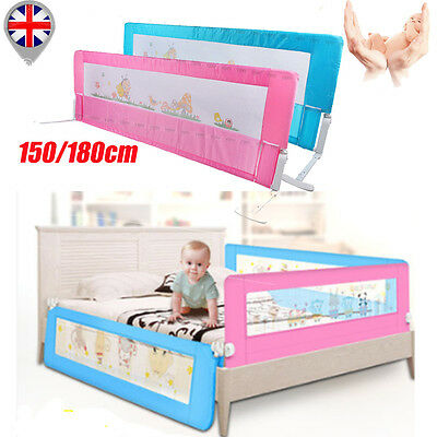 1.5/1.8M Safety Folding Bedrail Guard Baby Kids Bedroom Protection Pink Blue
