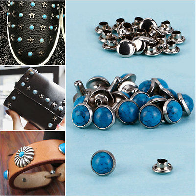 20x DIY Crafts Turquoise/Pearl Studs Rivets Punk Shoes Clothes Décor Accessories
