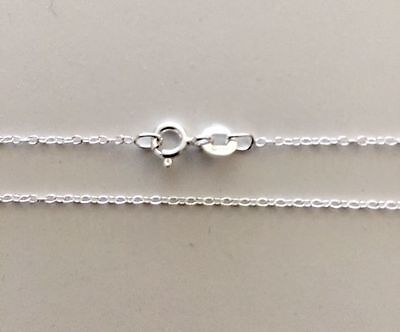 """Cable Trace Necklace Chain 45cm 18"""" 1.10mm Genuine Fine 925 Sterling Silver"""