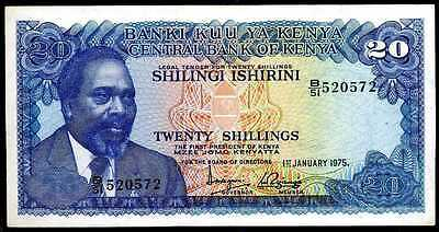 KENYA 20  SHILLINGS  1975  XF/AU  P 13b  Prefix B/51 Circulated Banknotes