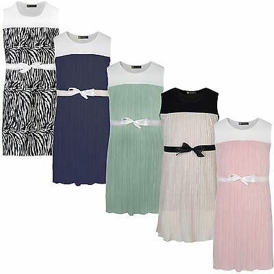 Girls Plisse Dress Ribbon Tie Textured Pleated Casual Summer Party Top