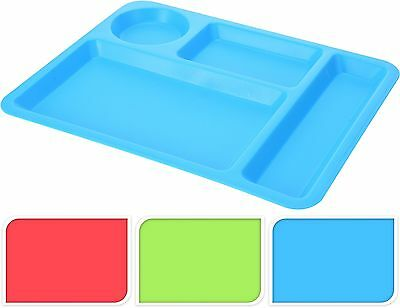 4 Heavy Duty Sectioned Food Serving Trays Camping Plates Caravan Picnic Tray BBQ