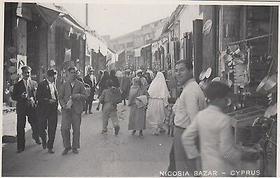 Bazaar, Nicosia, Cyprus, Real photo, old postcard, unposted