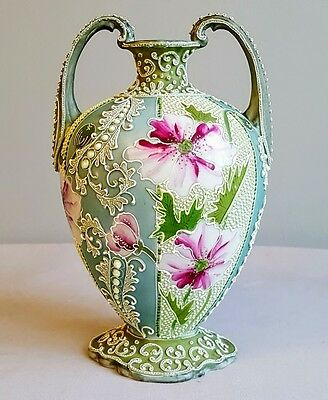 Lovely Heavy Moriage Nippon Era Vase Antique Great Colors!