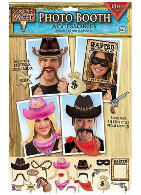 **  Way Out West Photo Booth Props New ** 18 Pc Cow Boy Sheriff Wedding