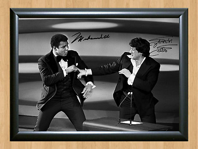 Sylvester Stallone Spars with Muhammad Ali Signed Autographed Print Photo Poster