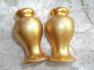 Vintage set Salt Pepper Gold stippled Shakers  Small size  pre 1930's Antique