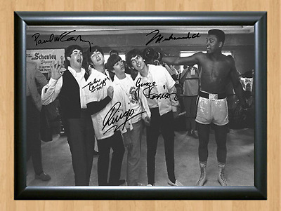 Muhammad Ali and The Beatles Signed Autographed Print Photo Poster studio pose