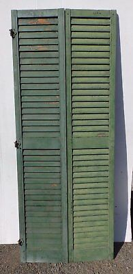 Pair Antique Hinged Window Wood Louvered Shutter Shabby Vtg Chic 74x15 383-17R