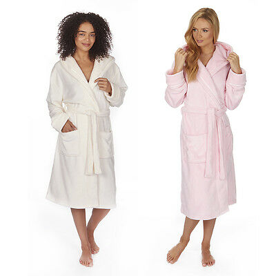 Ladies Women's Soft Flannel Fleece Hooded Dressing Gown Robe Nightwear Plus Size