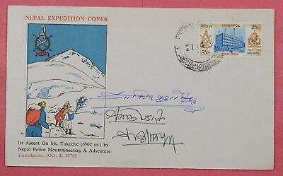 1976 Nepal Expedition Cover 1St Ascent Mt Tukuche Cachet Multi Signed