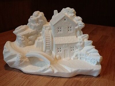 C-0920  Watermill Scene; Country Mill with bridge Ceramic Bisque Ready to Paint