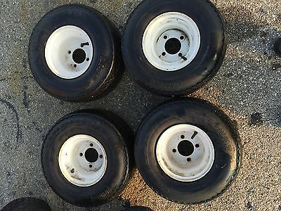 SET OF 4 used golf cart tires and wheels for all golf carts with 4 Used Wheels For Golf Cart Tire on used golf cart engine, go kart tires and wheels, yamaha rhino with itp wheels, yamaha grizzly tires and wheels, car tires and wheels, rhino tires and wheels,