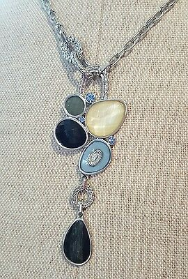 Lia Sophia necklace abstract with stones and dangle nice blk n blue