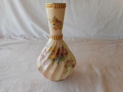Royal Worcester  Pretty Yellow Red Floral Spiral Swirl Vase  #1425 C 1900