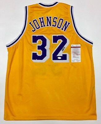"""EARVIN """"MAGIC"""" JOHNSON AUTOGRAPHED LAKERS JERSEY with JSA COA #WP460542"""