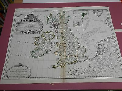 100% Original Large British Isles  Map By Janvier C1750 Hand Coloured