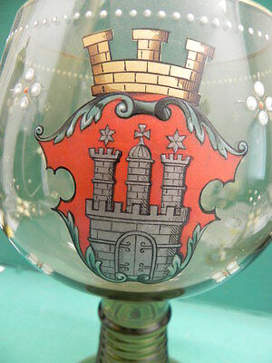 very large green Wine glass Roman with gemaltem Hamburg - Emblem Hanseatic city