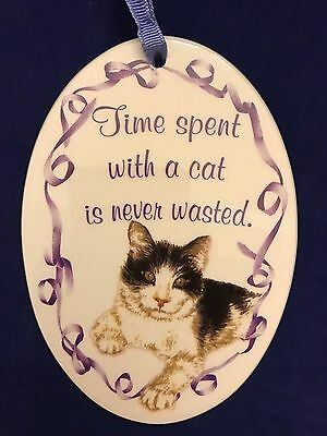 "FIGI Amanda Rose porcelain tile ornament ""Time Spent with a cat is never wasted"""