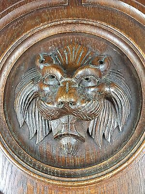 French wood door panel carved renaissance griffins head wolf or devil furniture