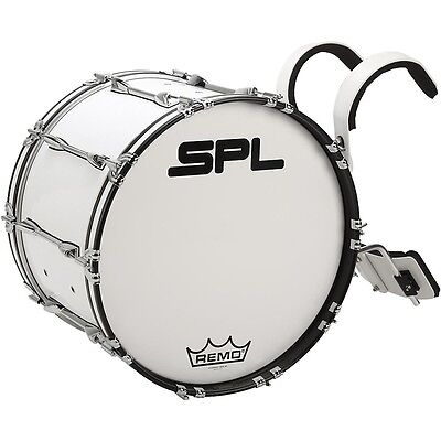 Sound Percussion Labs Birch Marching Bass Drum with Carrier 22 x 14 in. White LN