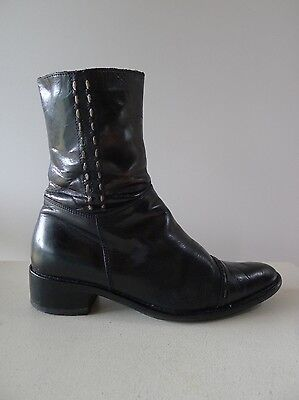 Vintage retro true 90s 36 black leather ankle boot chunky heel good