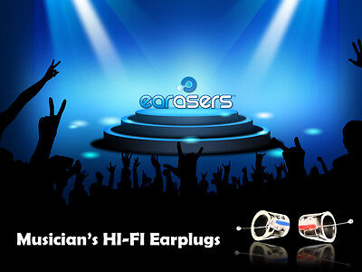 Earasers Musicians Hi-Fi Earplugs Loud Sound Protectors by Persona (Size Medium)