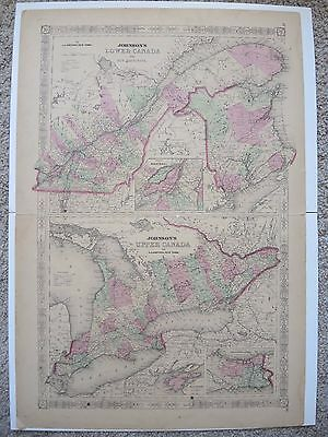 Original 1860's A.J. Johnson's Atlas Map Lower and Upper Canada + New Brunswick