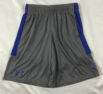 Under Armour Boys Athletic Basketball Shorts 1299989 Gray Blue YOUTH Size L