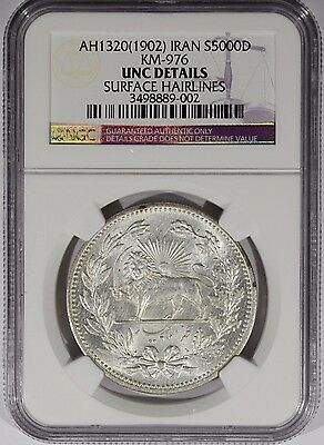 Ah1320 1902 Iran Silver 5000 Dinars Ngc Unc Details - Surface Hairlines Km-976